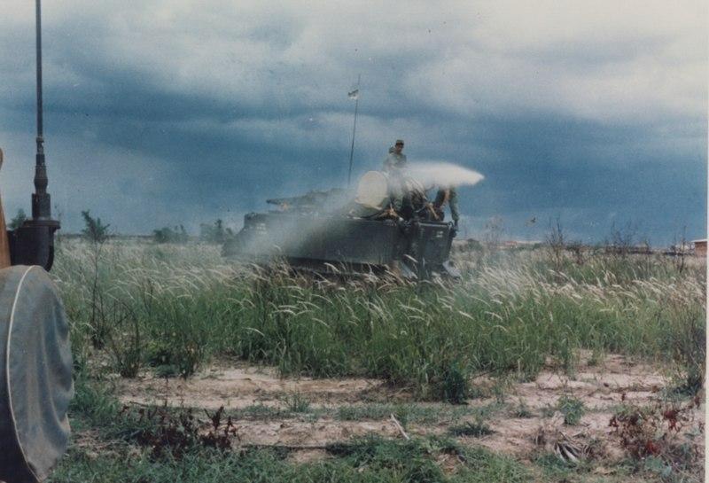US Army APC spraying Agent Orange in Vietnam